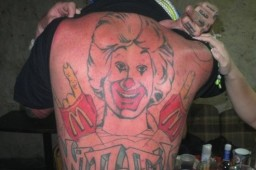 ronald mcdonald back tattoo