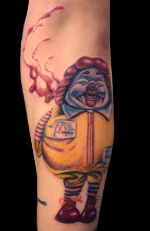 ronald mcdonald fat tattoo